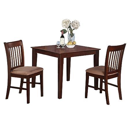 East West Furniture OXNO3-MAH-C 3-Piece Kitchen Table Set, Mahogany Finish