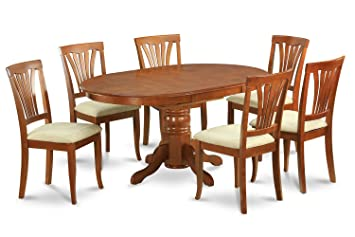 East West Furniture AVON7-SBR-C 7-Piece Dining Table Set