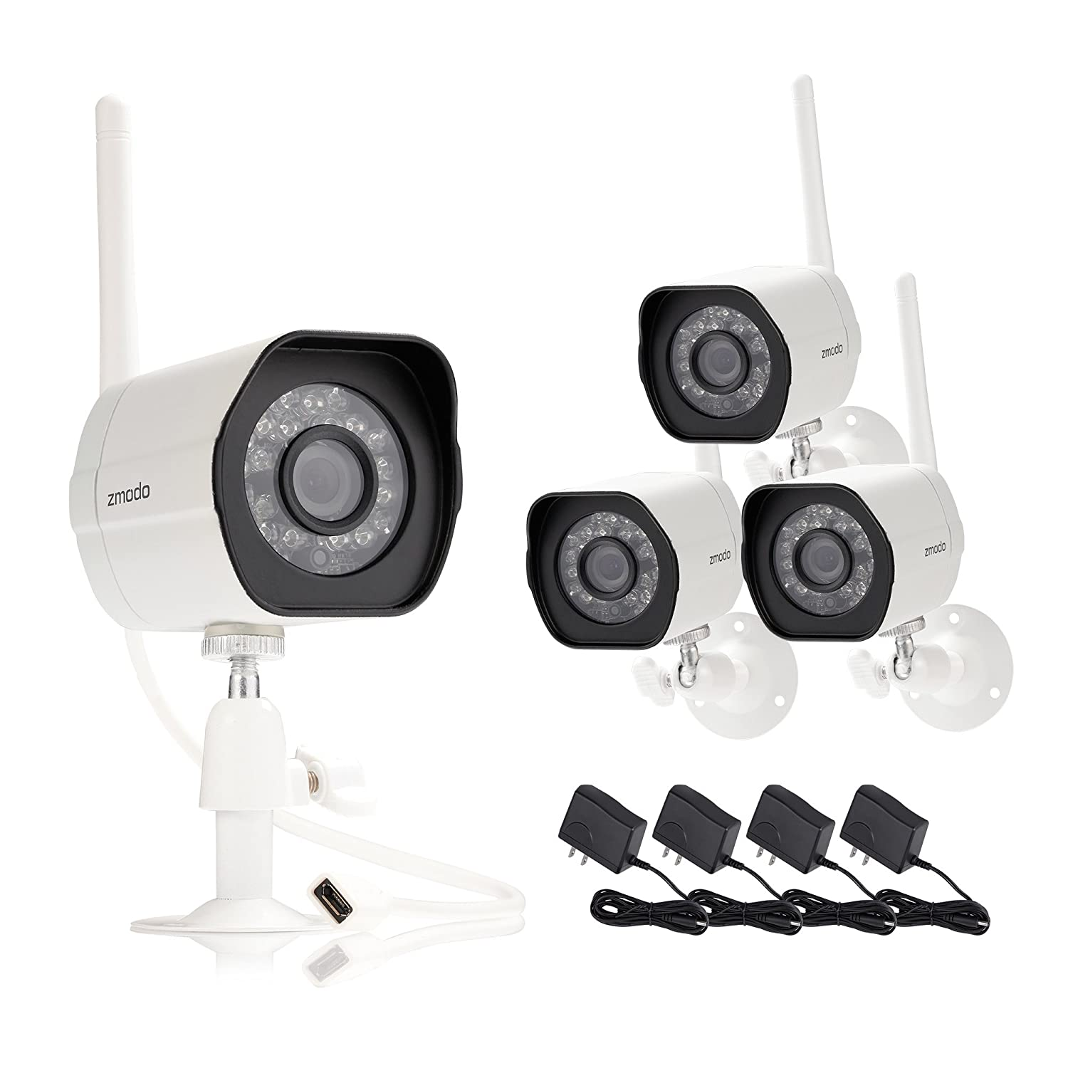 Amazon.com : Zmodo Smart Wireless Security Cameras- 4 Pack- HD Indoor/Outdoor WiFi IP Cameras with Night Vision Easy Remote Access