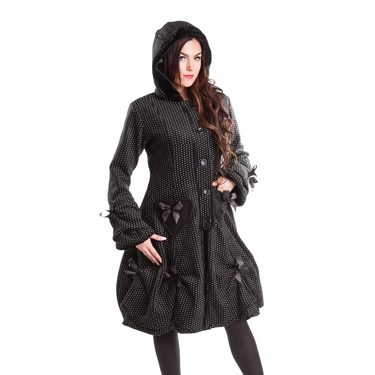 Poizen Industries Gothic Damen Mantel mit Kapuze - Alice Coat Polka Dot Coat mit Schnürung