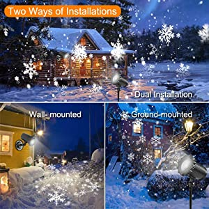 Snowflake Christmas Projector Lights Outdoor, ECOWHO Rotating Snowfall LED Projector Lights Waterproof with Remote Dynamic Falling Snow Effect for Xmas,Garden,Halloween,Wedding,Landscape Decorative (Color: Christams Projector Lights)