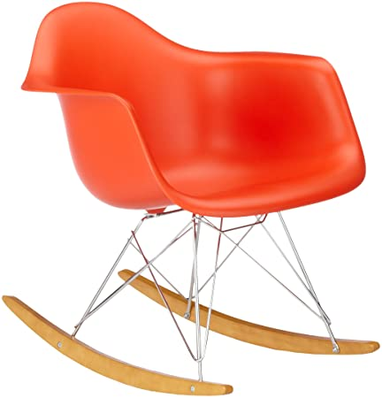 Vitra 4401130003 RAR Eames Plastic Armchair Rocking Chair Chrome Frame Red