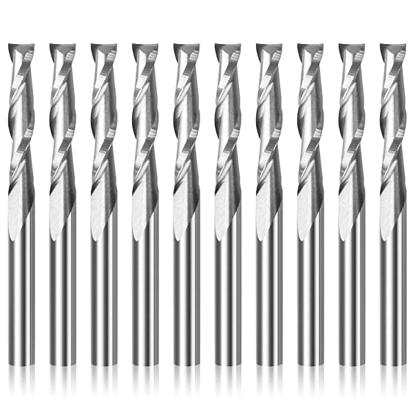 """1//8/"""" 22mm Carbide Ball Nose End Mills CNC Router Bits Double Flute Spiral Set To"""