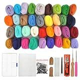WOWOSS 36 Colors Needle Felting Wool Set Starter Kit Wool Felt Tools (Color: 36 Colors)