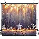 Dudaacvt 10x10ft Christmas Photography Background Wooden Board with Lights Snowflake Photo Backdrop Photo Booth Props for Merry Christmas Happy New Year Backdrop D0881010 … (Color: 18, Tamaño: 10×10 Ft)