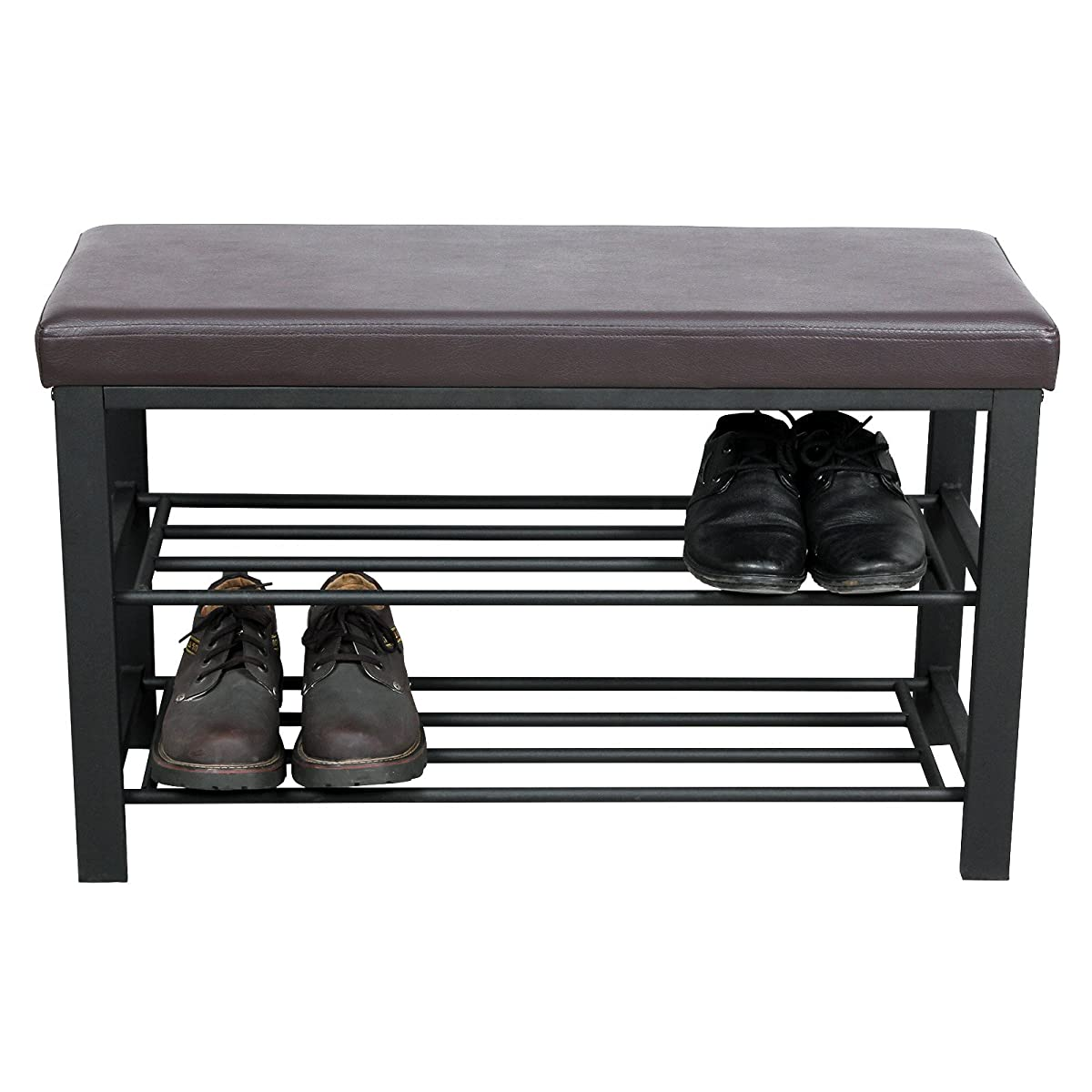 SONGMICS Metal Shoe Bench 2-Tier Shoe Rack Entryway Shoe Storage Organizer Faux Leather Top ULBS58Z