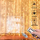 Curtain Lights,USB Powered Fairy Lights String,(300 LED 9.8Ftx9.8Ft) IP64 Waterproof Twinkle Lights for Bedroom,Wedding,Christmas Wall Decorations,War