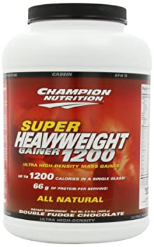 Champion Nutrition Super Heavyweight Gainer 1200 Ultra High-Density Mass Gainer, Chocolate Brownie , 6.6-Pound Plastic Jar