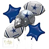 Andaz Press Balloon Bouquet Party Kit with Gold Cards & Gifts Sign, Cowboys Football Themed Foil Mylar Balloon Decorations, 1-Set (Color: Sports Cowboys)