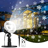 Snowflake Projector Light with Remote & Timer Setting, IP65 Waterproof for Garden House Outdoor Indoor Xmas Snowfall Snow LED Projection Decoration for Christmas, Valentine's Day, Wedding, Party (Color: Black)