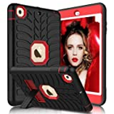 iPad Mini Case, iPad Mini 2 Case, iPad Mini 3 Case, iPad Mini Retina Case, Elegant Choise Heavy Duty Three Layer Armor Defender Protective Case Cover with Kickstand for iPad Mini 1/2/3 (Red+Black) (Color: Red+Black)