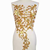 Noble Pure Handmade Beaded Crystal AB Color patches Sew on Rhinestones with Stones Sequins Beads Applique Designs Patches Sewing for DIY Wedding Dress Trim 30x60cm (Yellow) (Color: Yellow)