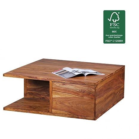 WOHNLING Couchtisch Massiv-Holz Sheesham 88 cm breit Wohnzimmer-Tisch Design dunkel-braun Landhaus-Stil Beistelltisch Natur-Produkt Wohnzimmermöbel Unikat modern Massivholz-möbel Echtholz quadratisch