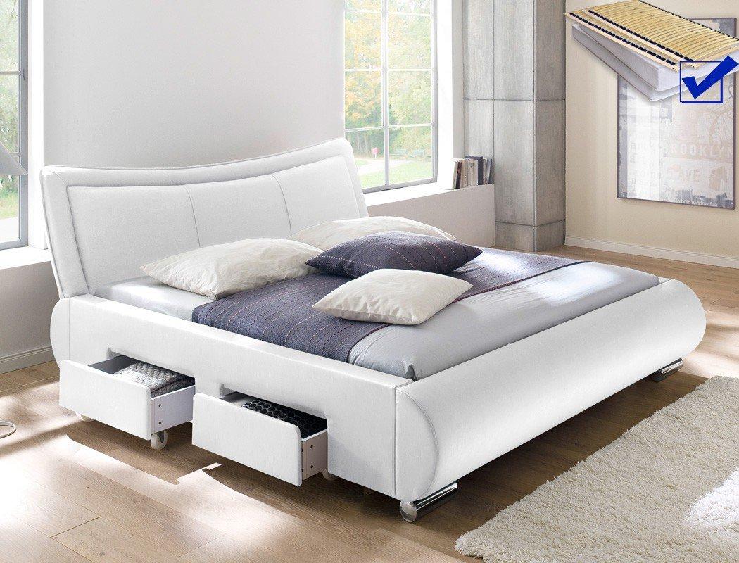 Polsterbett weiß Bett 180×200 + Lattenrost + Matratze + Schubkasten Doppelbett Designerbett Lando günstig kaufen