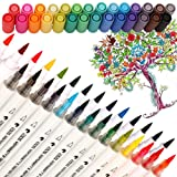 Dual Tip Watercolor Brush Markers - Pandafly Non-Toxic Water Based Lettering Marker Calligraphy Pens for Adults&Kids Coloring Book, Sketching, Drawing, Bullet Journal, 28 Assorted Colors (Color: 14Pcs Watercolor marker)