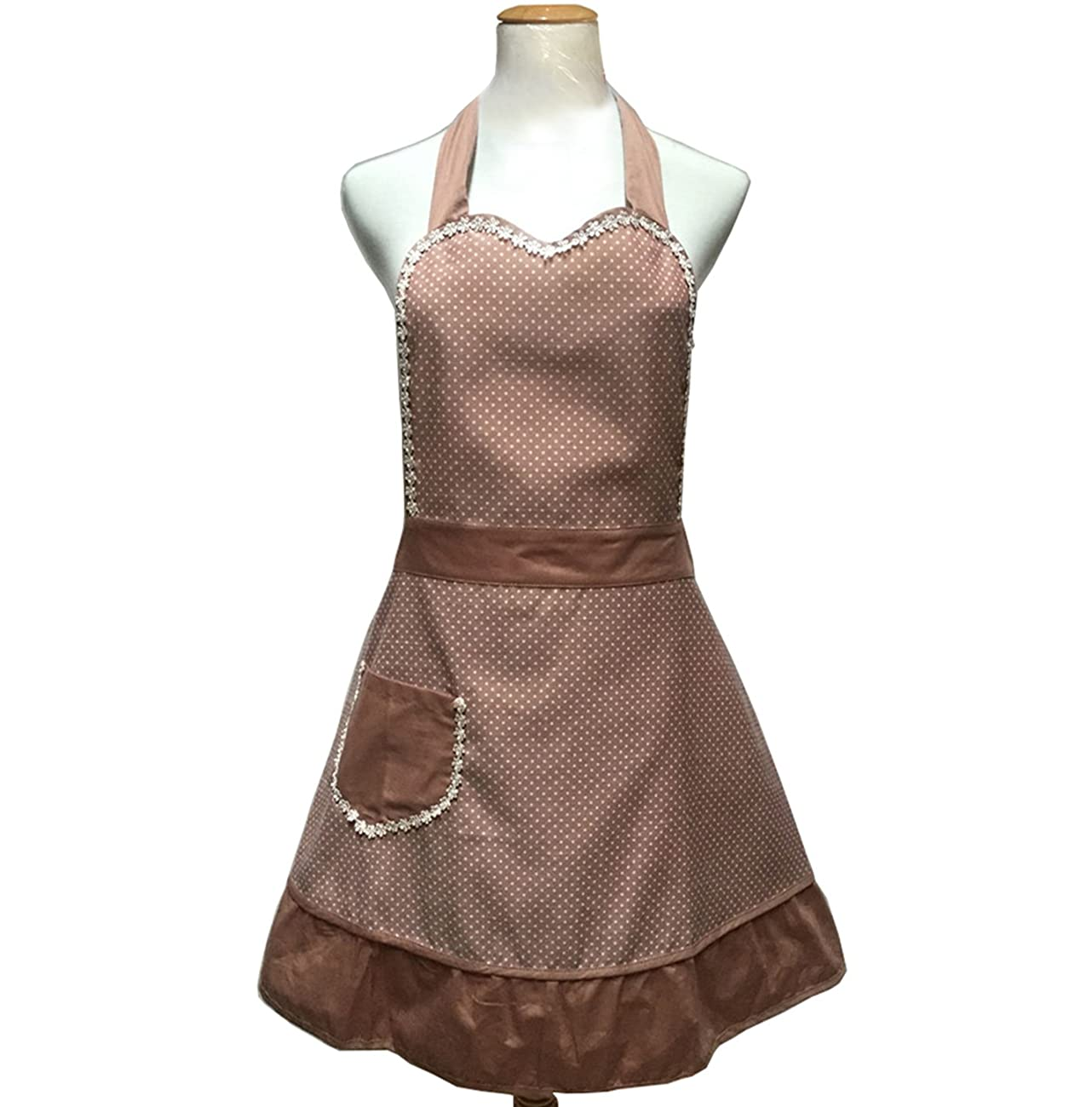 Lovely Sweetheart Retro Kitchen Aprons Woman Girl Cotton Cooking Salon Pinafore Vintage Apron Dress with Pocket,Brown 1