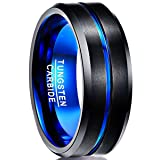 Nuncad Blue Tungsten Wedding Bands Brushed Finish Polished Beveled Edge Tungsten Rings Size 10 (Color: Black-Blue)