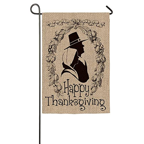 Happy Thanksgiving Pilgrim Wreath Burlap Garden Flag
