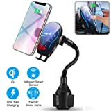 Flow.month Wireless Car Charger-Cup Phone Holder Mount,Automatic Infrared Smart Sensor Clamping Qi 10W 7.5W Fast Universal Adjustable Cell Phone Wireless Charging Air Vent Cradle (Color: Cup Phone Holder Wireless Charger)