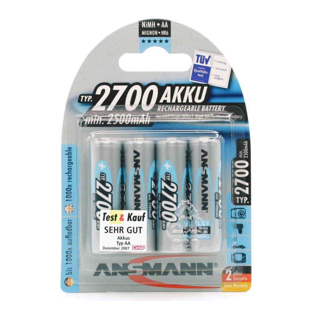 Ansmann - Pack de 4 pilas recargables (NiMH Mignon AA tipo 2700, mín. 2500 mAh)  Electrónica Comentarios de clientes y más información