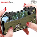Mobile Game Controller PUBG(The Newest) Aim and Capacitive Sensitive Press Shooting Buttoms L1 R1 for PUBG/Knives Out/Rules of Survival, Mobile Phone Joystick for Android iPhone IOS 1 Pair (Color: Black)