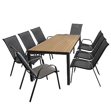 9tlg. Gartengarnitur Gartentisch, Aluminiumrahmen, Tischplatte Polywood braun, 205x90cm + 8x Stapelstuhl, Textilenbespannung grau / Gartenmöbel Set Sitzgarnitur Sitzgruppe
