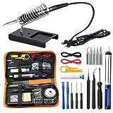 URCERI Soldering Iron Kit Electronics 26-in-1, 60W Adjustable Temperature Welding Tool, 6 pcs Soldering Tips with Desoldering Pump, Soldering IronStand, ESD Tweezers, Solder Wick, Wire Stripper Cutter (Color: Black)