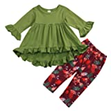 2PC Toddler Little Girls Ruffle Flare Tunic Dress Top Floral Leggings Pants Fall Winter Outfit Set Clothes (18-24 Months, Green) (Color: Green, Tamaño: 18 - 24 Months)