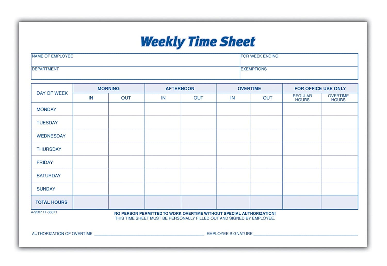 Decisive image within printable timesheet