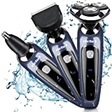 Electric Shaver Razor Wet & Dry 3 in 1 Waterproof Rotary Floating Heads Elehot -Blue (Color: Blue)