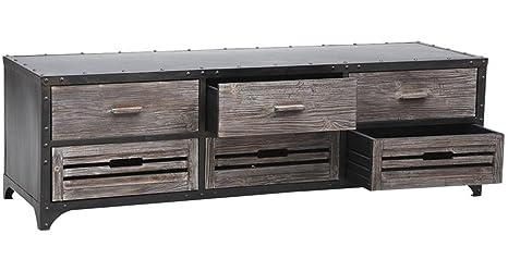 Meuble TV en métal et bois - Dim : L 160 x P 50 x H 50 cm -PEGANE-