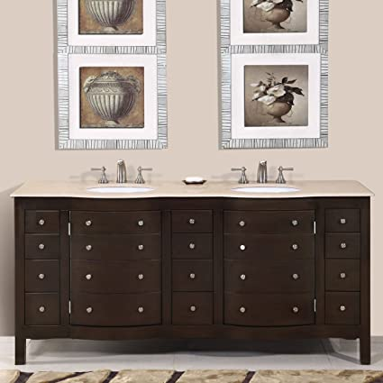 Silkroad Exclusive Cream Marfil Marble Stone Double Sink Bathroom Vanity with Cabinet, 72-Inch