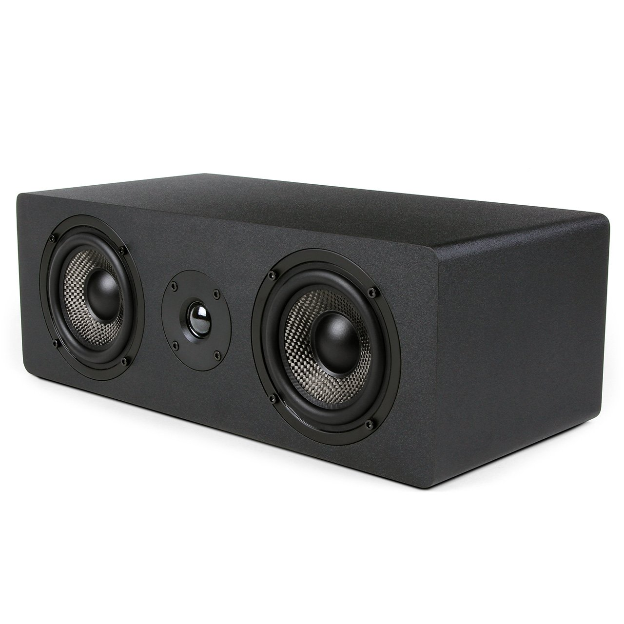 Micca MB42X-C Center Channel Speaker with Dual 4-Inch Carbon Fiber Woofer and Silk Dome Tweeter, Black