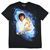 Bob Ross Galaxy Painting Graphic T-Shirt  - Large, Black (Color: Large, Tamaño: Large)