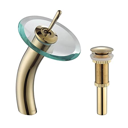 Kraus KGW-1700-PU-10G-CL Single Lever Vessel Glass Waterfall Bathroom Faucet Gold with Clear Glass Disk and Matching Pop Up Drain
