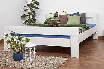 "Bett ""Easy Sleep"" K6, 160 x 200 cm Buche Vollholz massiv weiß lackiert"