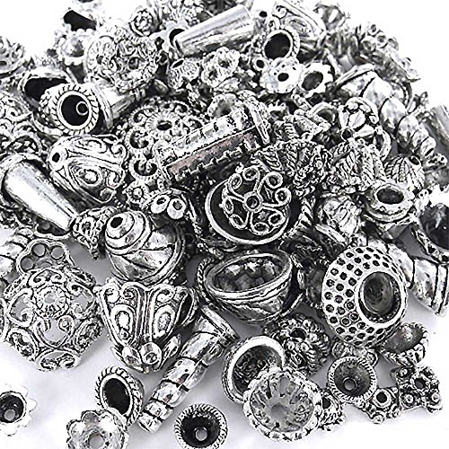 ecrafty-ec-5003-70-piece-bali-style-jewelry-making-metal-bead-caps-deluxe-new-mix-100gm-silver