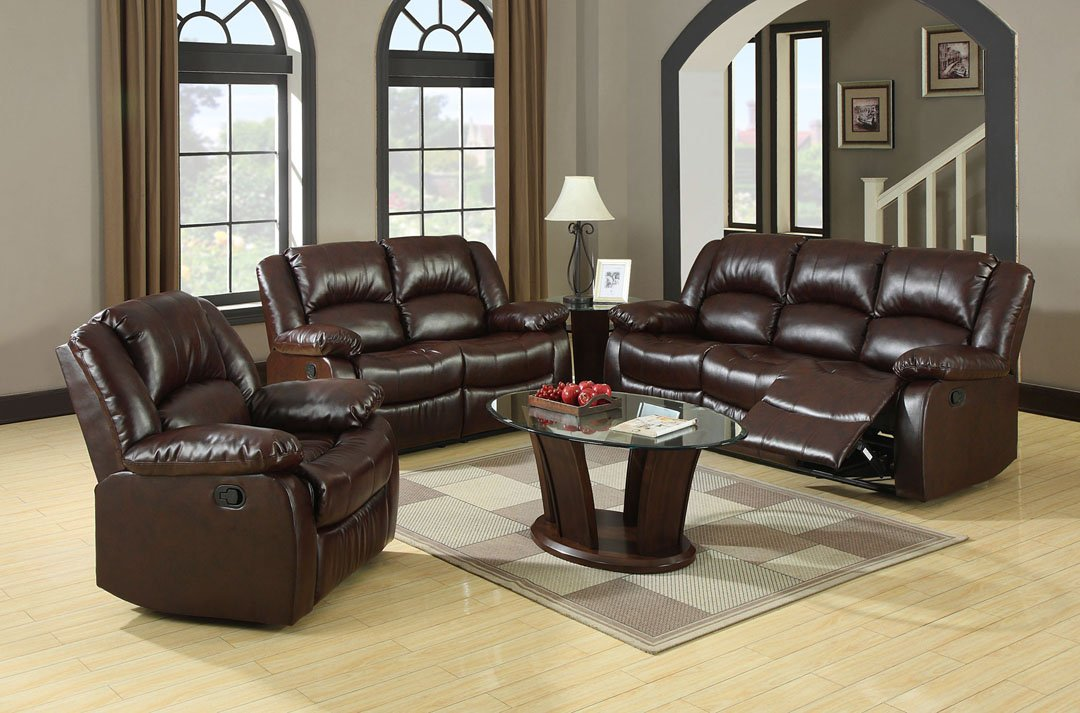 recliner sofa furniture winslow leather sofa set 3 pc living room set