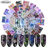 Nail Foil Transfers Nail Art Stickers Decals 80 Designs Nail Foils Sticker for Women Flower Animal Bubble Maze Assorted Sexy Nail Art Supplies for Manicure Tips Wraps Charms Accessories DIY Acrylic (Color: 2)