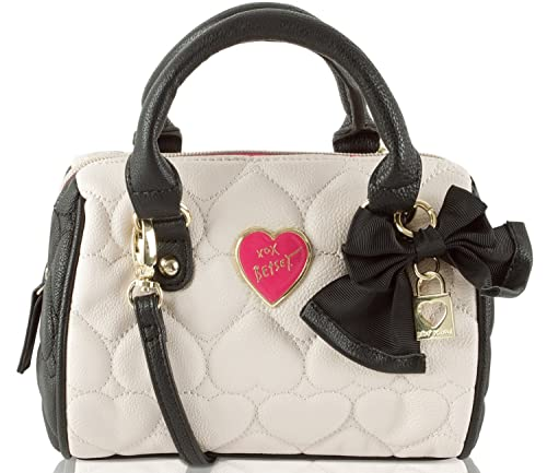Betsey Johnson Be Mine Mini Crossbody Satchel Bag- Bone/Black