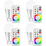 Yangcsl 120 Colors E26 Dimmable Color Changing LED Light Bulbs with Remote Control, Memory & sync, Daylight White & RGB Multi Color, 60 Watt Equivalent (4 Pack) (Color: Multi-color + Daylight White, Tamaño: Pack of 4)