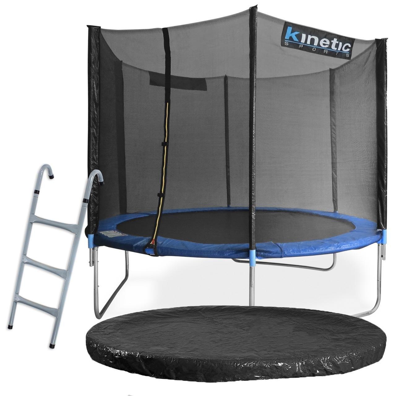 Kinetic Sports Outdoor Gartentrampolin Komplett-Set inkl. Sicherheitsnetz Randabdeckung Leiter Abdeckplane günstig