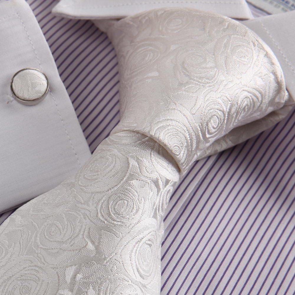 wedding fashion white flower tie for men florals pattern