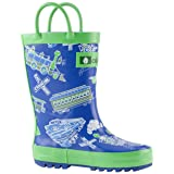 Oakiwear Kids Rubber Rain Boots with Easy-On Handles, Blue & Green Trains, 6T US Toddler