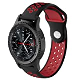 XIHAMA Band for Samsung Gear S3, 22mm Soft Silicone Adjustable Replacement Strap Bracelet for Gear S3 Classic / S3 Frontier,Gear 2 R380,Ticwatch 1nd,Pebble time,LG G Watch (Black/red) (Color: black/red)