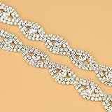 De.De. 1 Yard Elegant Crystal Clear Glass Rhinestone Applique Bridal Trim/Chain Silver (Color: silver, Tamaño: 2)