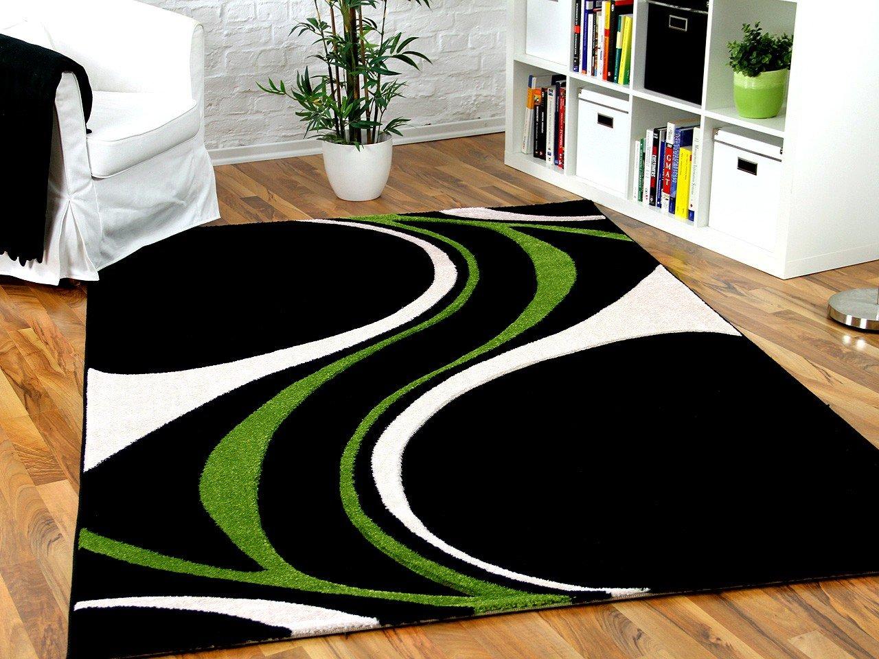 Designer Teppich Maui Schwarz Grün Style in 5 Größen    Kritiken und weitere Informationen