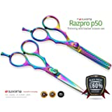 Suvorna Professional Barber Razor Edge Titanium Coated Hair Cutting and Texturizing Scissors Set Razpro P50, Multicolor, 15.4 Ounce (Color: Multicolor)