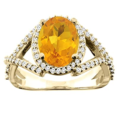14ct Yellow Gold Natural Citrine Ring Oval 10x8mm Diamond Accent 1/2 inch wide, sizes J - T