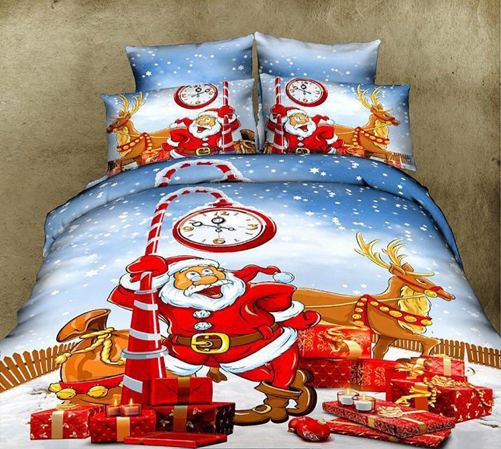 USmyth Santa 4PCS Bedding Set, 100% Cotton Queen Size Duvet Cover